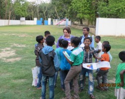 Children showing their artworks – April 2015