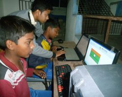 Computer class for village kids